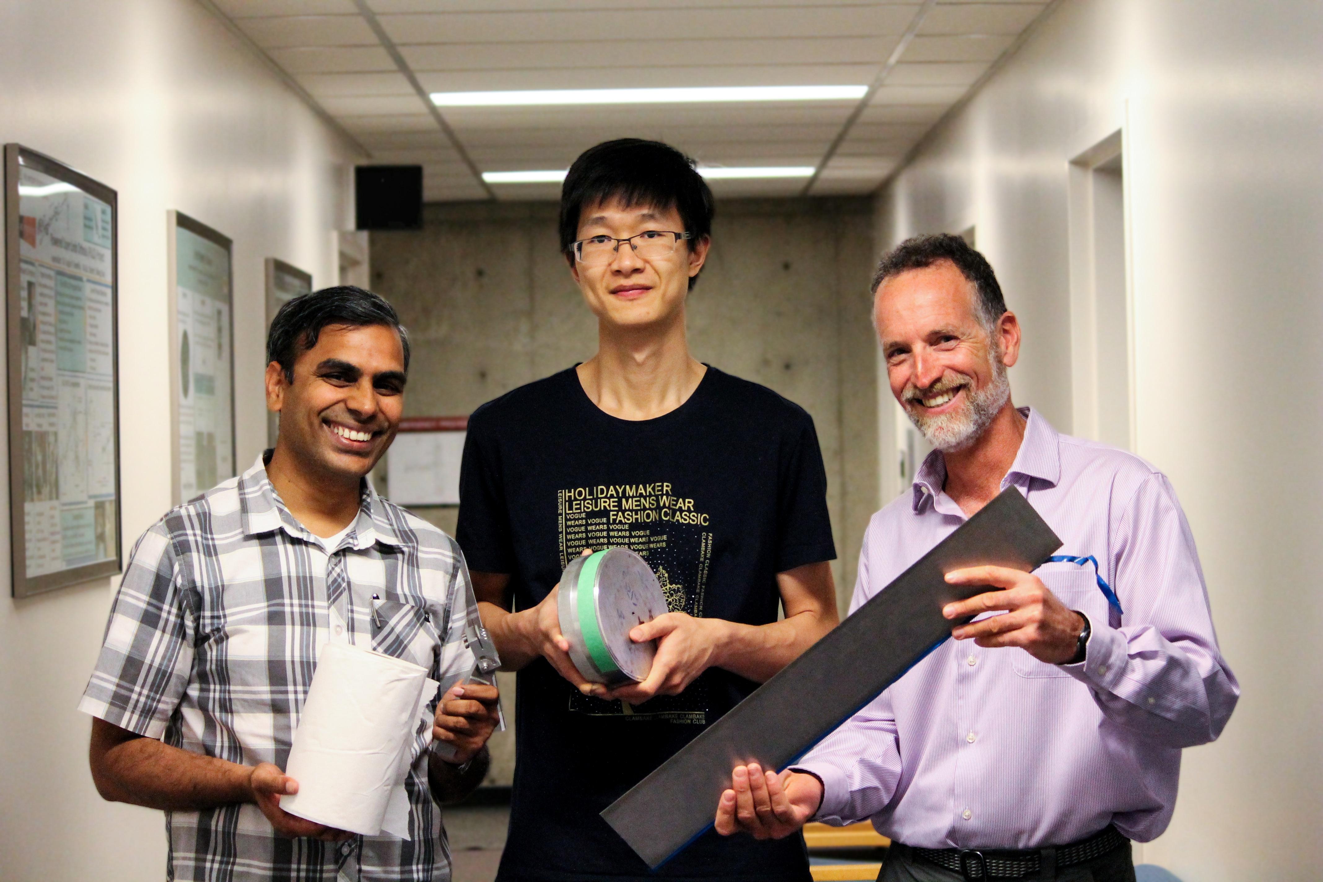 UBC mechanical engineering researchers Srikanth Phani, Kui Pan and Sheldon Green.