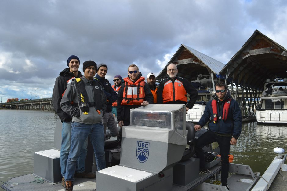 NAME graduate students, visiting French naval students, and Program Director Jon Mikkelsen aboard the UBC Marine Research Platform